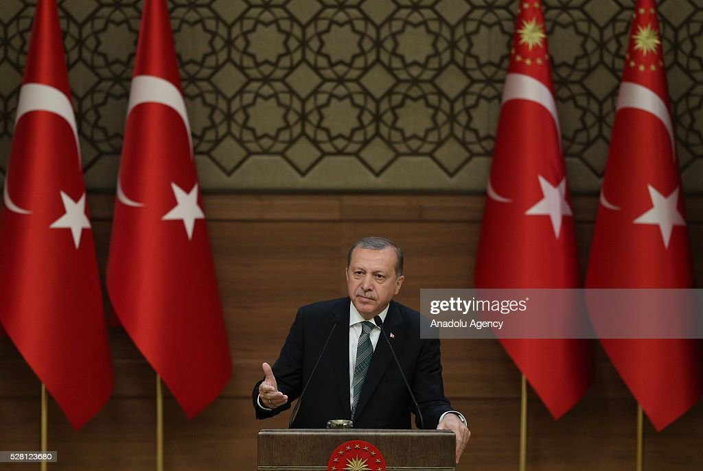 President of Turkey Recep Tayyip Erdogan gestures during the mukhtars meeting at the Presidential Complex in Ankara, Turkey on May 4, 2016.