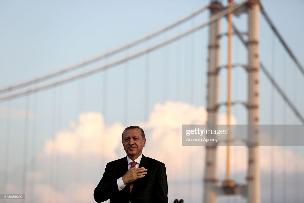 President of Turkey, Recep Tayyip Erdogan gestures during the opening ceremony of Osmangazi Bridge in Kocaeli, Turkey on June 30, 2016. Osmangazi Bridge is the fourth-longest suspension bridge in the world and second-longest bridge in Europe.
