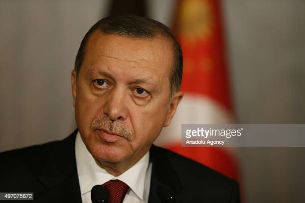 President of Turkey Recep Tayyip Erdogan gives a speech at G20 Turkey Summit compound in Antalya Turkey on November 14 2015 during a sudden press...