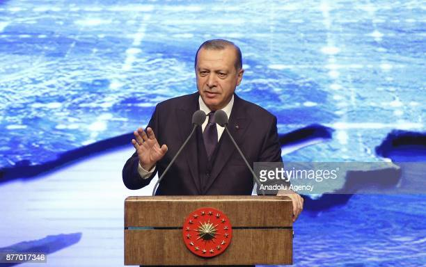 President of Turkey Recep Tayyip Erdogan gives a speech during a mass inauguration ceremony organized for the varied electricity production...