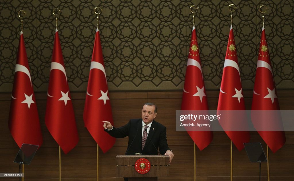 President of Turkey, Recep Tayyip Erdogan gives a speech during monthly 'Mukhtars (local administrators) meeting' at Presidential Complex in Ankara, Turkey on February 10, 2016.