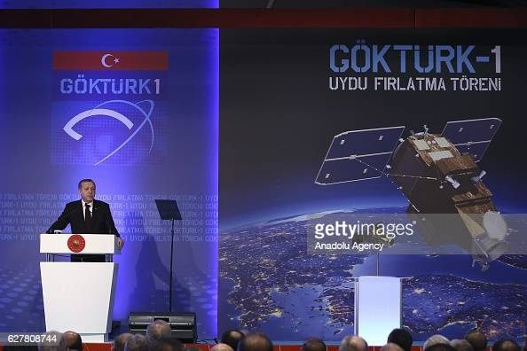 President of Turkey Recep Tayyip Erdogan gives a speech in Ankara Turkey on December 05 2016 as he participates the launching ceremony of the...