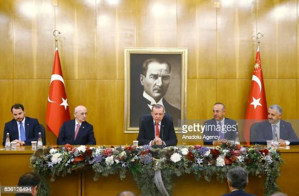 President of Turkey Recep Tayyip Erdogan holds a press conference prior to his official visit to Jordan before his departure with the presidential...