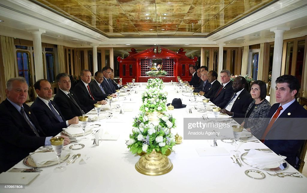 President of Turkey <a gi-track='captionPersonalityLinkClicked' href=/galleries/search?phrase=Recep+Tayyip+Erdogan&family=editorial&specificpeople=213890 ng-click='$event.stopPropagation()'>Recep Tayyip Erdogan</a> hosts a dinner in honor of the guests, including presidents, prime ministers and other high level delegates with the attendances of President of the Republic of Djibouti Ismail Omar Guelleh (6nd R), President of Kosovo <a gi-track='captionPersonalityLinkClicked' href=/galleries/search?phrase=Atifete+Jahjaga&family=editorial&specificpeople=7799061 ng-click='$event.stopPropagation()'>Atifete Jahjaga</a> (2nd R), President of Macedonia Gjorge Ivanov (4th R), former Hungarian President <a gi-track='captionPersonalityLinkClicked' href=/galleries/search?phrase=Pal+Schmitt&family=editorial&specificpeople=2720779 ng-click='$event.stopPropagation()'>Pal Schmitt</a> (L), President of Pakistan <a gi-track='captionPersonalityLinkClicked' href=/galleries/search?phrase=Mamnoon+Hussain&family=editorial&specificpeople=11183703 ng-click='$event.stopPropagation()'>Mamnoon Hussain</a> (5th L), President of Montenegro <a gi-track='captionPersonalityLinkClicked' href=/galleries/search?phrase=Filip+Vujanovic&family=editorial&specificpeople=596296 ng-click='$event.stopPropagation()'>Filip Vujanovic</a> (3rd L), President of South Sudan <a gi-track='captionPersonalityLinkClicked' href=/galleries/search?phrase=Salva+Kiir+Mayardit&family=editorial&specificpeople=2629283 ng-click='$event.stopPropagation()'>Salva Kiir Mayardit</a> (3rd R), Prime Minister of Iraq's Kurdish Regional Government Nechervan Barzani (R), President of Somalia <a gi-track='captionPersonalityLinkClicked' href=/galleries/search?phrase=Hassan+Sheikh+Mohamud&family=editorial&specificpeople=10123535 ng-click='$event.stopPropagation()'>Hassan Sheikh Mohamud</a> (5th R) and Vice President of Afghanistan Abdul Rashid Dostum (8th R) within the commemoration ceremonies marking the 100th anniversary of the Canakkale La