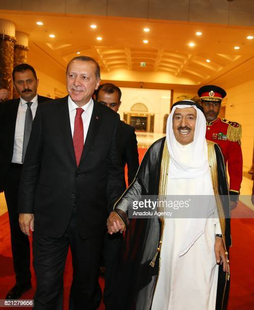 President of Turkey Recep Tayyip Erdogan is welcomed by Emir of Kuwait Sheikh Sabah AlAhmad AlJaber AlSabah at Kuwait International Airport in Kuwait...