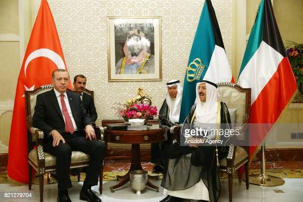 President of Turkey Recep Tayyip Erdogan meets Emir of Kuwait Sheikh Sabah AlAhmad AlJaber AlSabah in Kuwait City Kuwait on July 23 2017