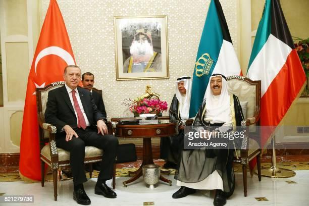 President of Turkey Recep Tayyip Erdogan meets Emir of Kuwait Sheikh Sabah AlAhmad AlJaber AlSabah in Kuwait City Kuwait on July 23 2017