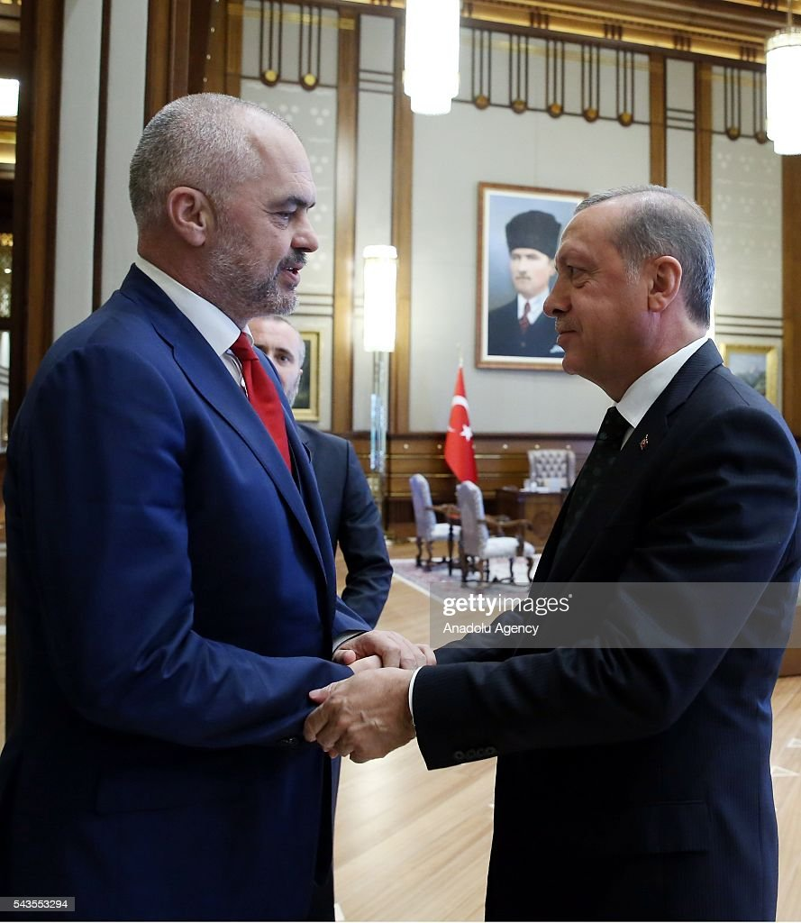President of Turkey, Recep Tayyip Erdogan (R) meets with Albanian Prime Minister Edi Rama (L) at Presidential Complex in Ankara, Turkey on June 29, 2016.