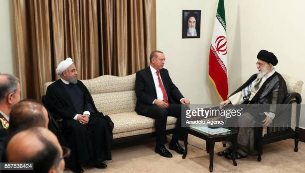 President of Turkey Recep Tayyip Erdogan meets with Iran's Supreme Leader Ayatollah Ali Khamanei and President of Iran Hassan Rouhani in Tehran Iran...