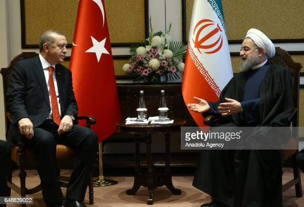 President of Turkey Recep Tayyip Erdogan meets with President of Iran Hassan Rouhani as the 13th Economy Cooperation Organization Summit continues in...
