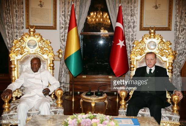 President of Turkey Recep Tayyip Erdogan meets with President of Guinea Alpha Conde in Istanbul Turkey on October 20 2017