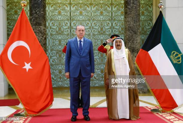 President of Turkey Recep Tayyip Erdogan poses for a photo with Emir of Kuwait Sheikh Sabah AlAhmad AlJaber AlSabah before his departure to Doha at...