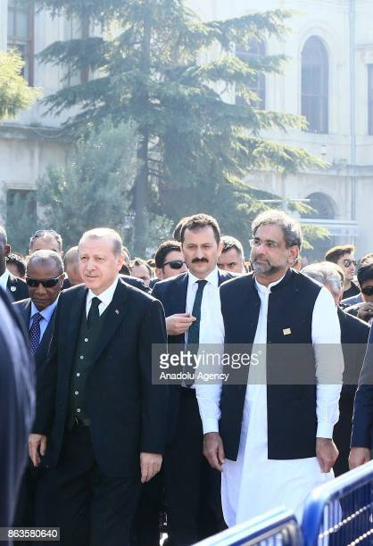 President of Turkey Recep Tayyip Erdogan President of Guinea Alpha Conde and Prime Minister of Pakistan Shahid Khaqan Abbasi leave the Bezmi Alem...