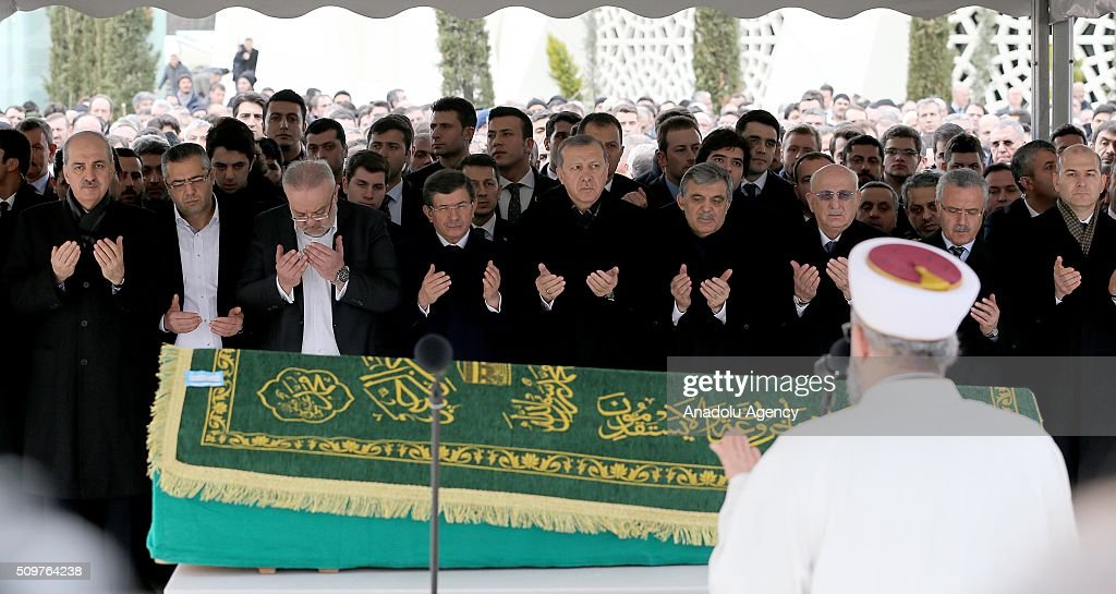 President of Turkey Recep Tayyip Erdogan (C), Prime Minister of Turkey Ahmet Davutoglu (C-L), Turkish Deputy Prime Minister Numan Kurtulmus (L) and Ismail Kahraman Turkey's parliamentary speaker (3rd L) attend a funeral, held at the Mosque of Marmara University Theology Faculty for Ahmet Ozyurt, Turkey's 11th President Abdullah Gul's (4th L) father-in-law, in Istanbul, Turkey on February 12, 2016 .
