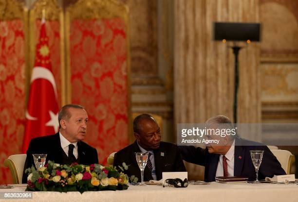 President of Turkey Recep Tayyip Erdogan Prime Minister of Turkey Binali Yildirim and President of Guinea Alpha Conde attend a dinner hosted by...
