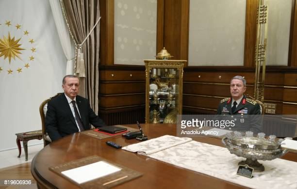 President of Turkey Recep Tayyip Erdogan receives Chief of the General Staff of the Turkish Armed Forces Hulusi Akar at Presidential Complex in...