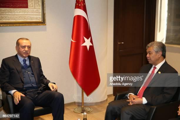 President of Turkey Recep Tayyip Erdogan receives Deputy Prime Minister of Malaysia Dato' Seri Dr Ahmad Zahid Bin Hamidi in Istanbul Turkey on...