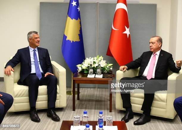 President of Turkey Recep Tayyip Erdogan receives Kosovo's President Hashim Thaci within the 72nd session of the UN General Assembly in New York...