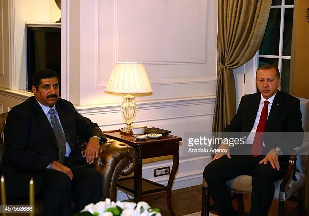 President of Turkey Recep Tayyip Erdogan receives Minister of Defence of Qatar Hamad Bin Ali Al Attiyah at Cankaya Presidential Palace in Ankara...