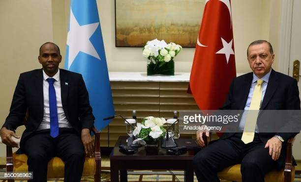 President of Turkey Recep Tayyip Erdogan receives Prime Minister Hassan Ali Khayre within the 72nd Session of the UN General Assembly in New York...