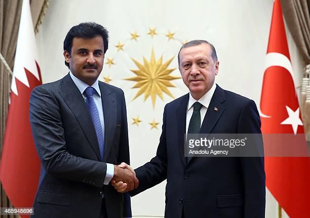 President of Turkey Recep Tayyip Erdogan shake hands with Amir of Qatar Sheikh Tamim bin Hamad al Thani as they meet at the presidential palace in...