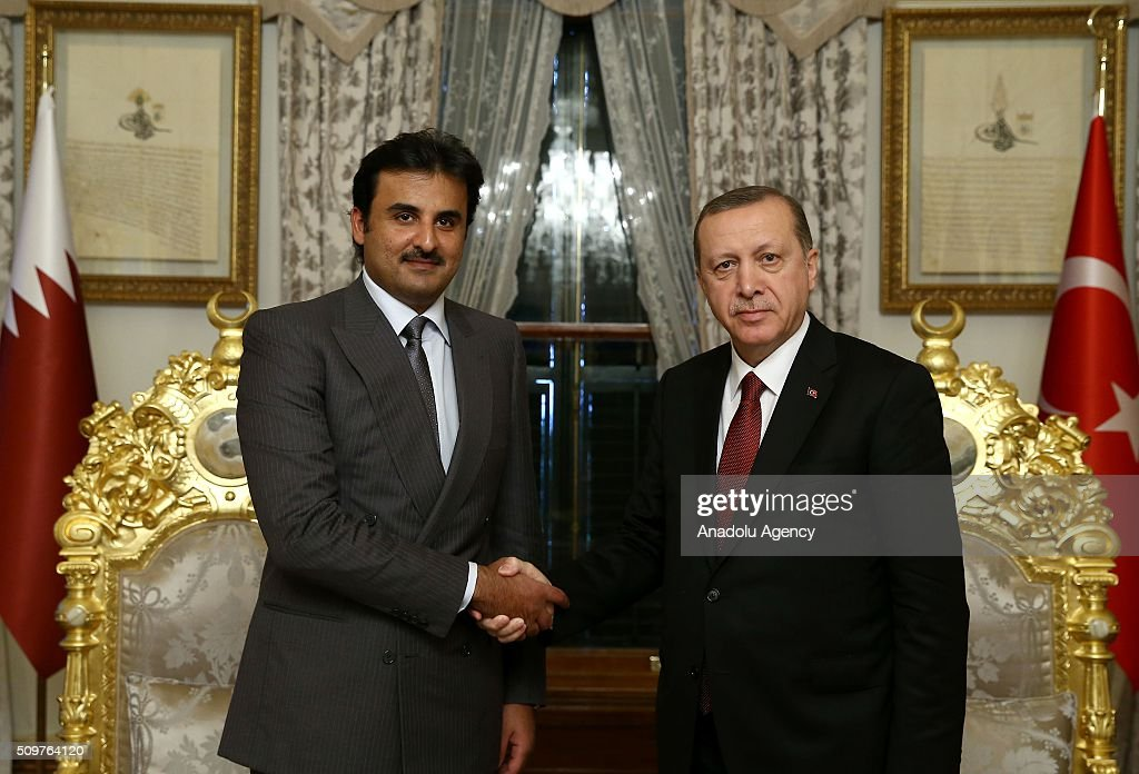 President of Turkey Recep Tayyip Erdogan (R) shakes hand with Emir of Qatar Tamim bin Hamad Al Thani (L) prior to their meeting at Mabeyn Palace in Istanbul, Turkey on February 12, 2016.