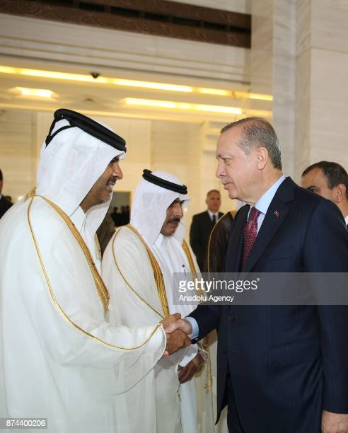 President of Turkey Recep Tayyip Erdogan shakes hands with a Qatari official following an official welcoming ceremony by Emir of Qatar Sheikh Tamim...