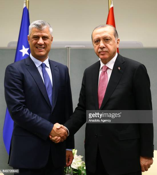 President of Turkey Recep Tayyip Erdogan shakes hands with Kosovo's President Hashim Thaci during their meeting within the 72nd session of the UN...
