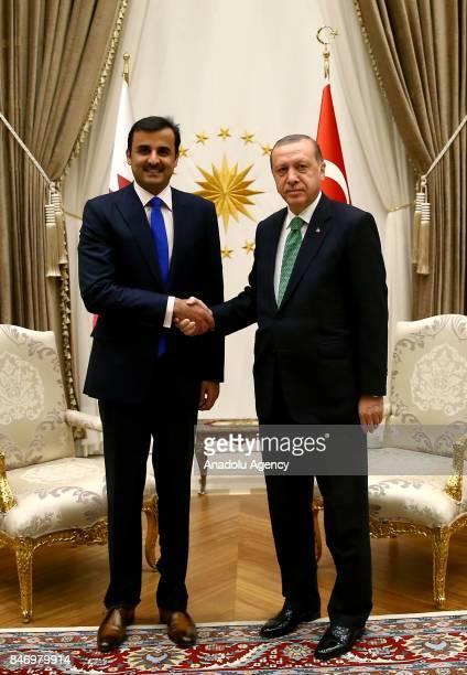 President of Turkey Recep Tayyip Erdogan shakes hands with Qatari Sheikh Tamim bin Hamad Al Thani at Presidential Complex in Ankara Turkey on...