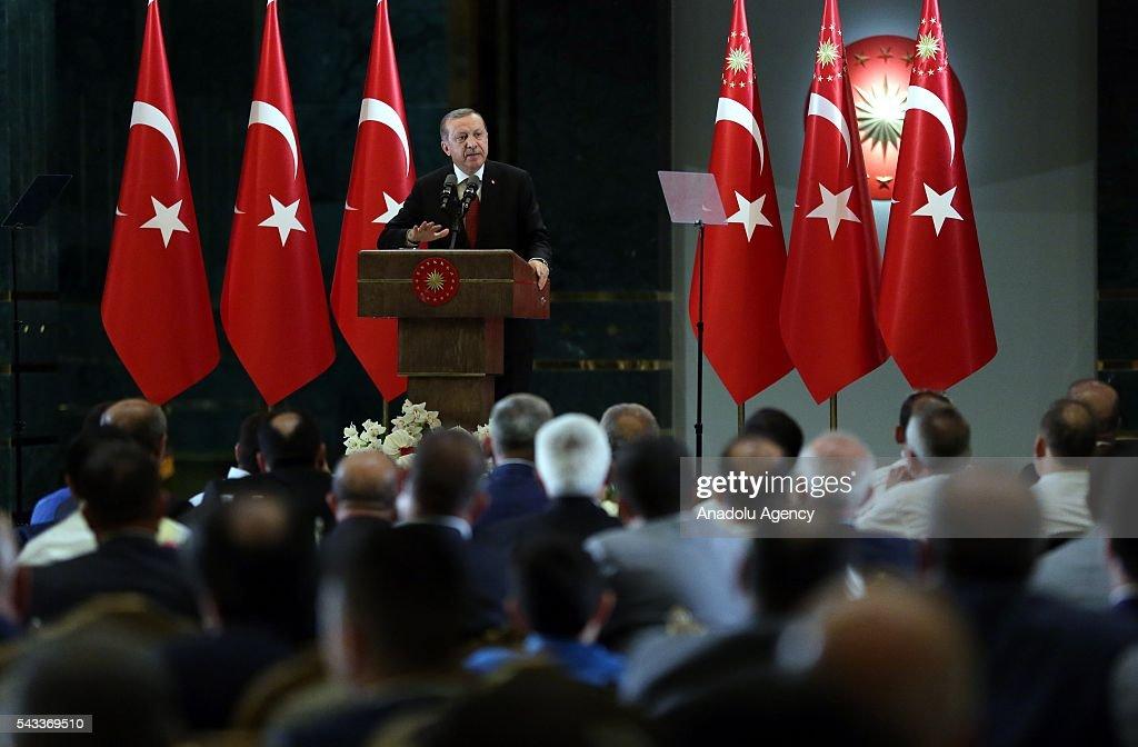 President of Turkey, Recep Tayyip Erdogan speaks at Ramadan fast-breaking dinner at presidential complex in Ankara, Turkey on June 27, 2016.