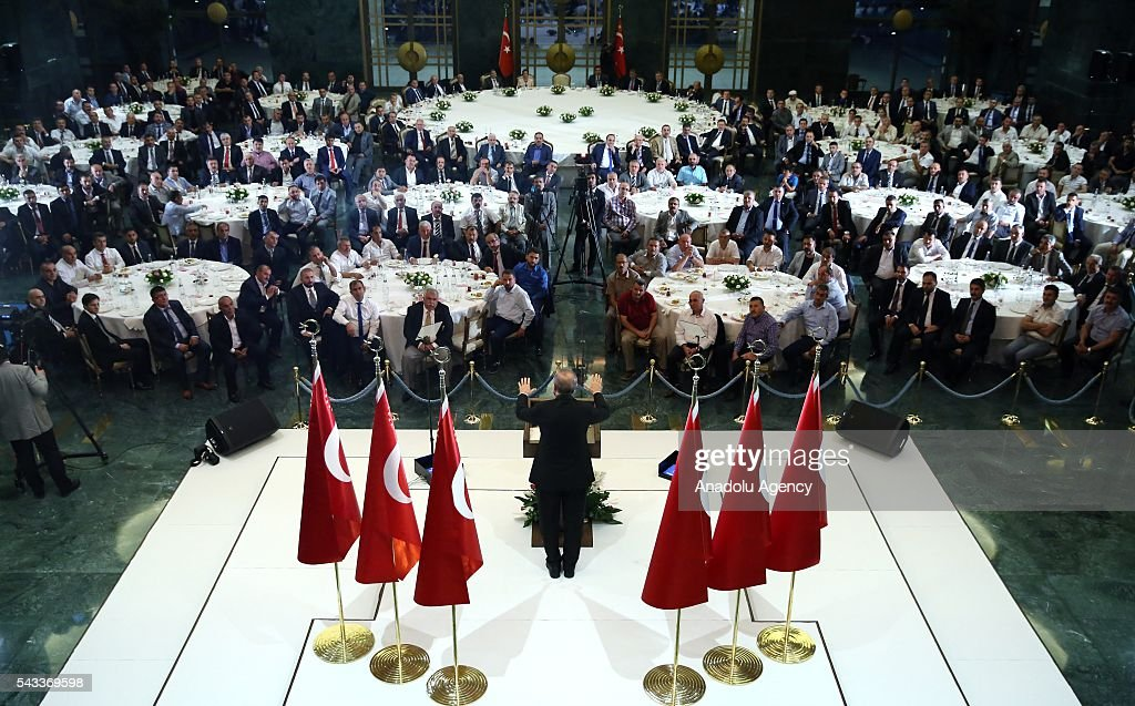 President of Turkey, Recep Tayyip Erdogan speaks at Ramadan fast-breaking dinner at presidential complex in Ankara, Turkey on June 27, 2016.
