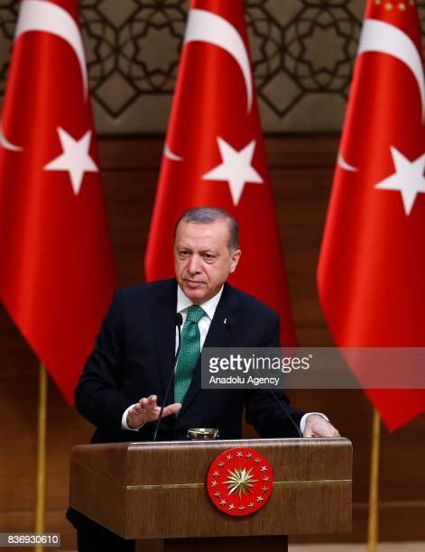 President of Turkey Recep Tayyip Erdogan speaks during the 39th Mukhtars Meeting at Presidential Complex in Ankara Turkey on August 22 2017