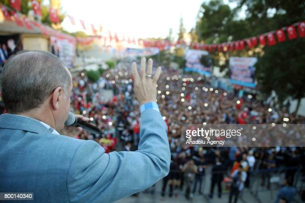 President of Turkey Recep Tayyip Erdogan speaks the crowd at Ceylanpinar district of Sanliurfa Turkey on June 23 2017