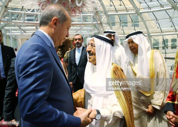 President of Turkey Recep Tayyip Erdogan speaks with Emir of Kuwait Sheikh Sabah AlAhmad AlJaber AlSabah before his departure to Doha at Kuwait...