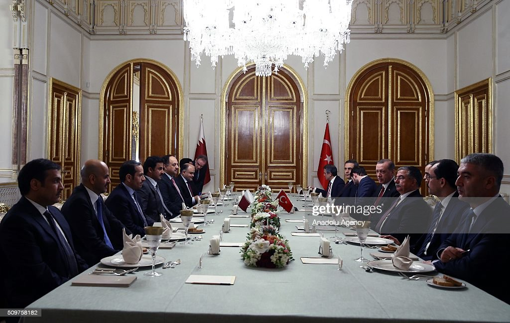 President of Turkey Recep Tayyip Erdogan (R-4), Turkish Defence Minister Ismet Yilmaz (R-3), Minister of Energy and Natural Resources Berat Albayrak (R-4) and Chief of the Turkish National Intelligence Organization Hakan Fidan (R-5) meet with Emir of Qatar Tamim bin Hamad Al Thani (L-4) at a working lunch at Mabeyn Palace in Istanbul, Turkey on February 12, 2016.