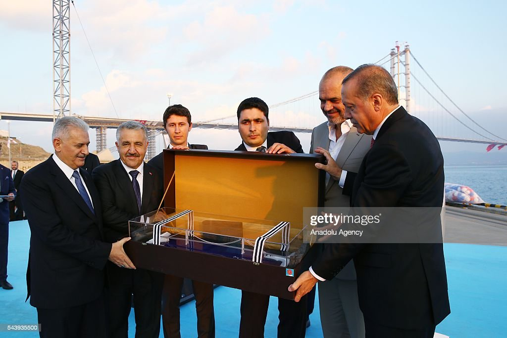 President of Turkey, Recep Tayyip Erdogan (R), Turkish Prime Minister Binali Yildirim (L) and Albanian Prime Minister Edi Rama (2nd R) attend the opening ceremony of Osmangazi Bridge in Kocaeli, Turkey on June 30, 2016. Osmangazi Bridge is the fourth-longest suspension bridge in the world and second-longest bridge in Europe.