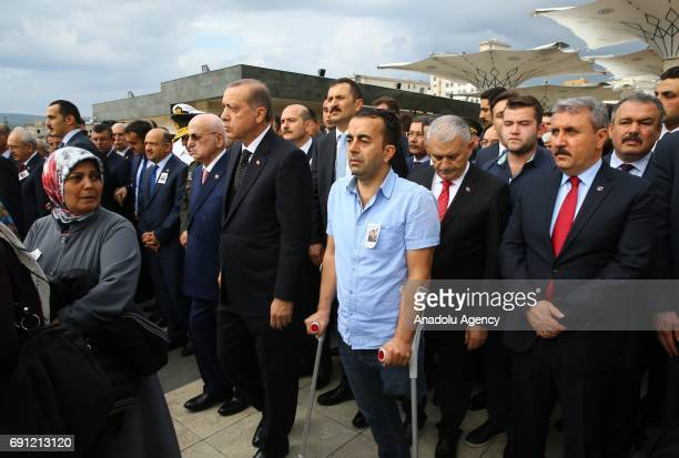 President of Turkey Recep Tayyip Erdogan Turkish Prime Minister Binali Yildirim Speaker of the Grand National Assembly of Turkey Ismail Kahraman and...