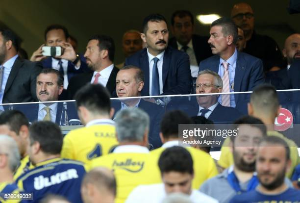 President of Turkey Recep Tayyip Erdogan Turkish Youth and Sports Minister Osman Askin Bak and Chairman of Fenerbahce Aziz Yildirim attend the UEFA...