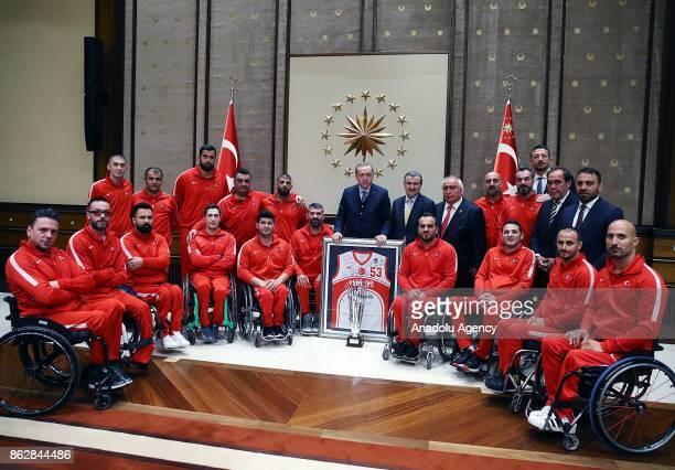 President of Turkey Recep Tayyip Erdogan Turkish Youth and Sports Minister Osman Askin Bak President of the Turkish Football Federation Yildirim...
