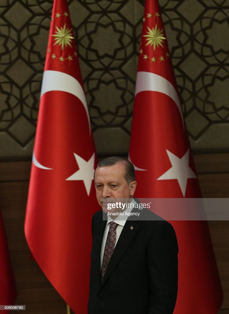 President of Turkey, Recep Tayyip Erdogan walks to give a speech during monthly 'Mukhtars (local administrators) meeting' at Presidential Complex in Ankara, Turkey on February 10, 2016.