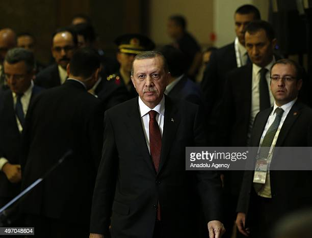 President of Turkey Recep Tayyip Erdogan walks toward to rostrum to give a speech at G20 Turkey Summit compound in Antalya Turkey on November 14 2015...
