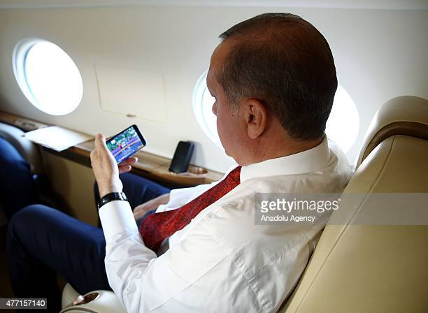 President of Turkey Recep Tayyip Erdogan watches men's grecoroman 130kg wrestling final competition of Riza Kayaalp within the Baku 2015 European...