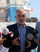President of Turkish Red Crescent Kerem Kinik speaks to media after Ship named 'Lady Leyla' arrives at port of Ashdod within Turkish government's...