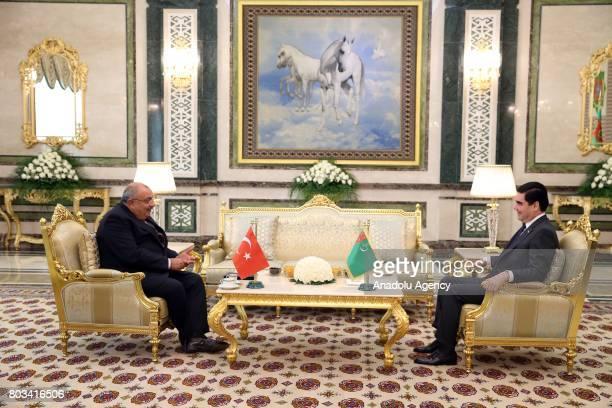 President of Turkmenistan Gurbanguly Berdimuhamedow receives Deputy Prime Minister of Turkey Tugrul Turkes in Ashgabat Turkmenistan on June 29 2017