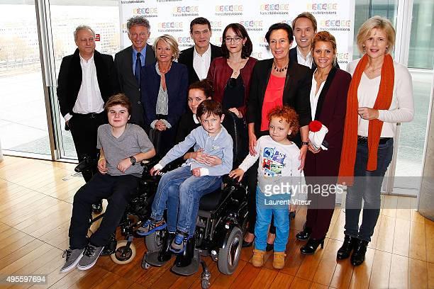 President of TV5 Monde Yves Bigot TV Presenters Nelson Monfort Sophie Davant Actor Marc Lavoine President of France TV Delphine Ernotte Cunci...