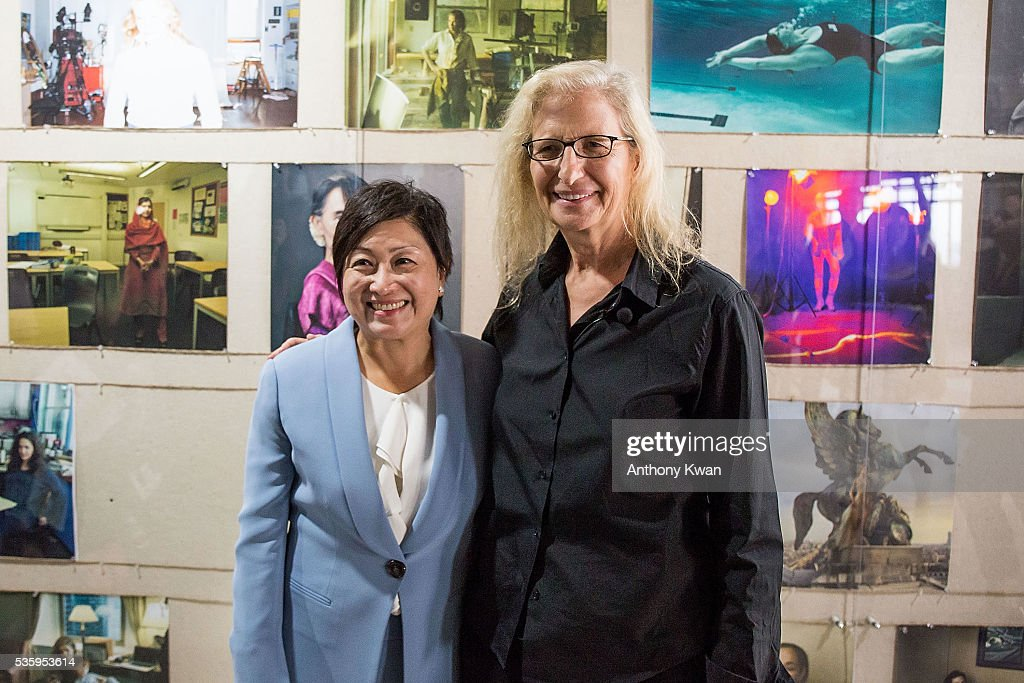 President of UBS Asia Pacific Kathryn Shih and photographer Annie Lebovitz pose at the Annie Lebovitz's UBS commissioned exhibition, 'WOMEN: New Portraits', to be held at Cheung Hing Industrial Building, Kennedy Town in Hong Kong 3 - 26 June 2016, on May 31, 2016 in Hong Kong.