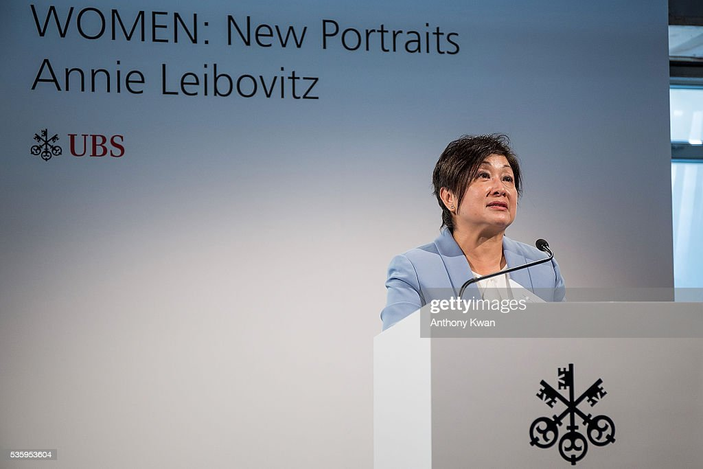 President of UBS Asia Pacific Kathryn Shih speaks at the Annie Lebovitz's UBS commissioned exhibition, 'WOMEN: New Portraits', to be held at Cheung Hing Industrial Building, Kennedy Town in Hong Kong 3 - 26 June 2016, on May 31, 2016 in Hong Kong.