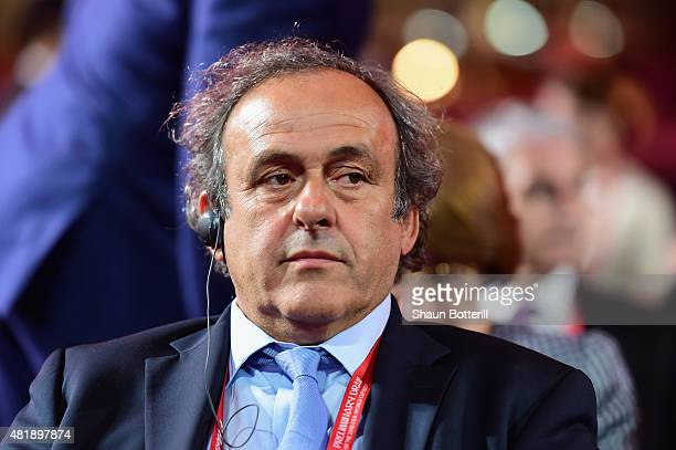 President of UEFA Michel Platini attends the Preliminary Draw of the 2018 FIFA World Cup in Russia at The Konstantin Palace on July 25 2015 in Saint...