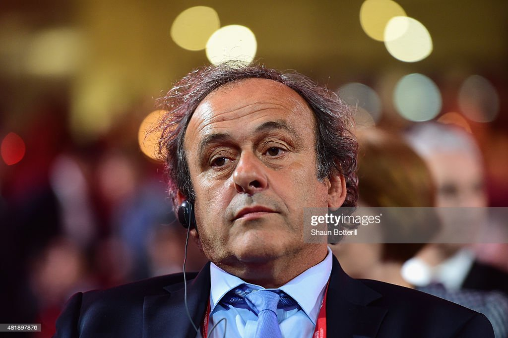 President of UEFA <a gi-track='captionPersonalityLinkClicked' href=/galleries/search?phrase=Michel+Platini&family=editorial&specificpeople=206862 ng-click='$event.stopPropagation()'>Michel Platini</a> attends the Preliminary Draw of the 2018 FIFA World Cup in Russia at The Konstantin Palace on July 25, 2015 in Saint Petersburg, Russia.