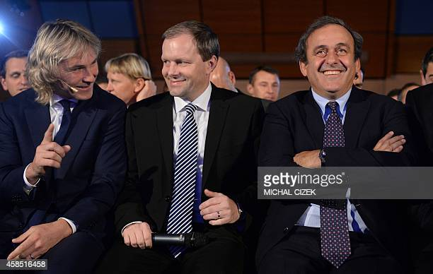 President of UEFA Michel Platini former Czech football player and former player of Juventus FC Pavel Nedved and Czech minister of Sport and Education...